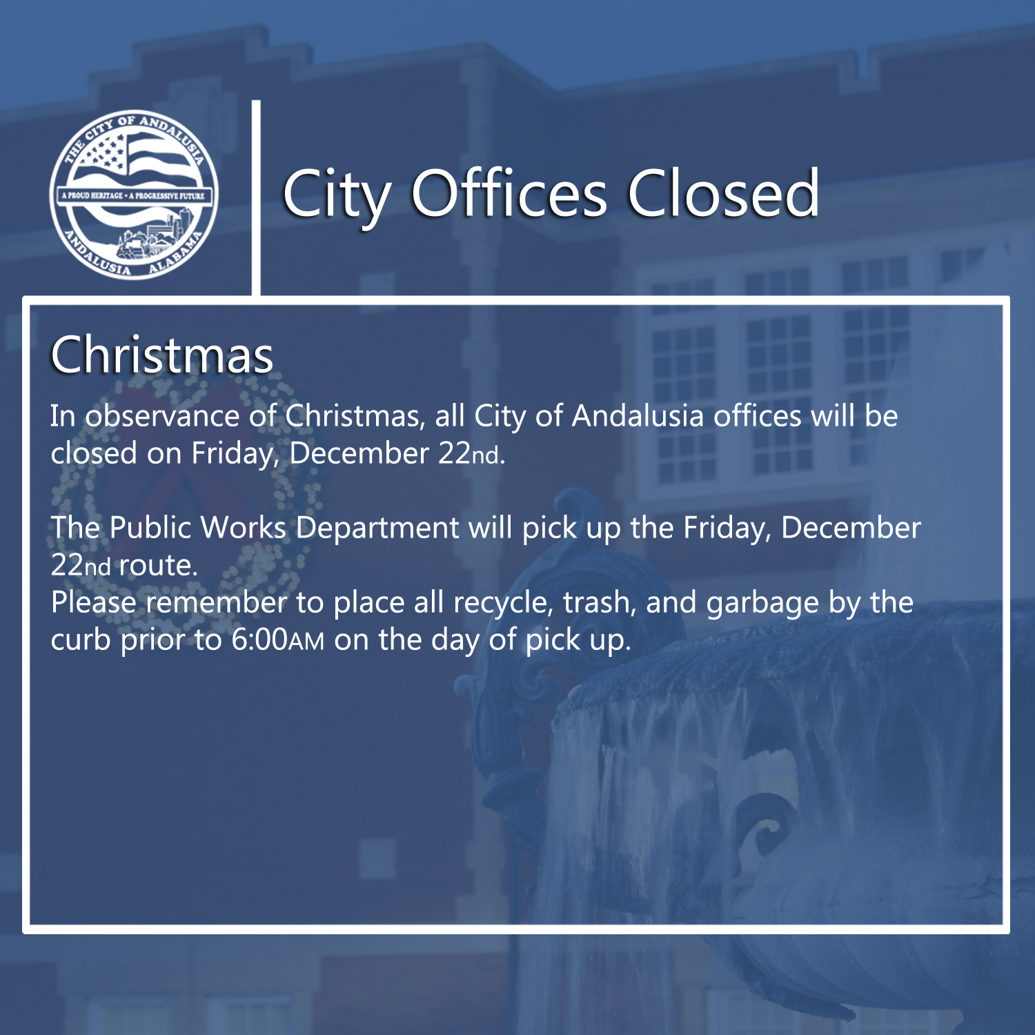 Facebook City Offices Closed Dec.22nd