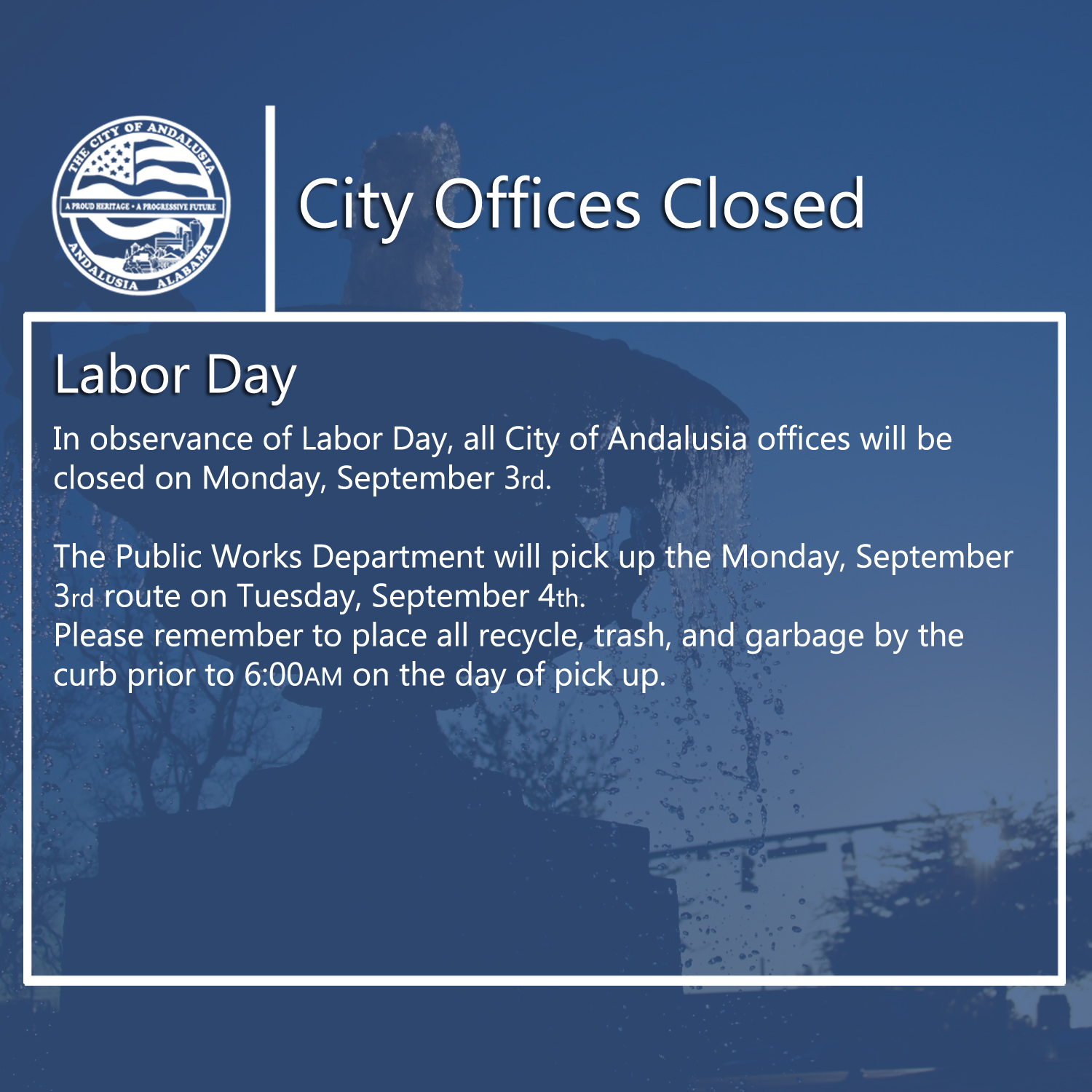 Facebook City Offices Closed Labor Day