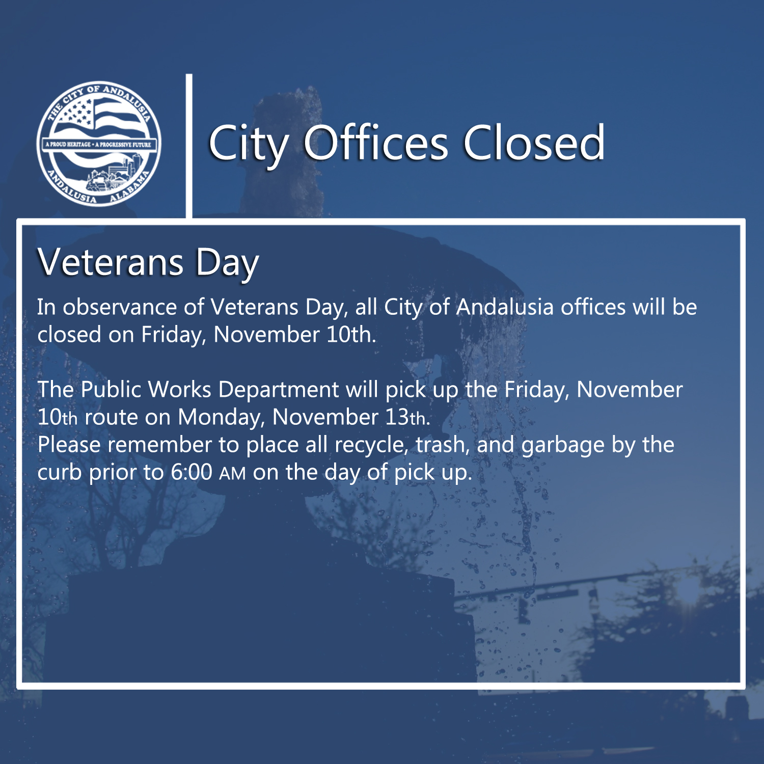 Facebook City Offices Closed Nov10