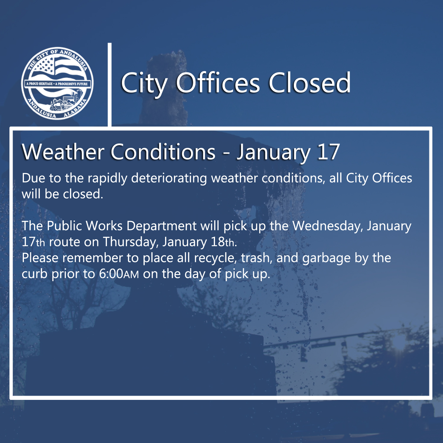 Facebook City Offices Closed Weather Jan 17