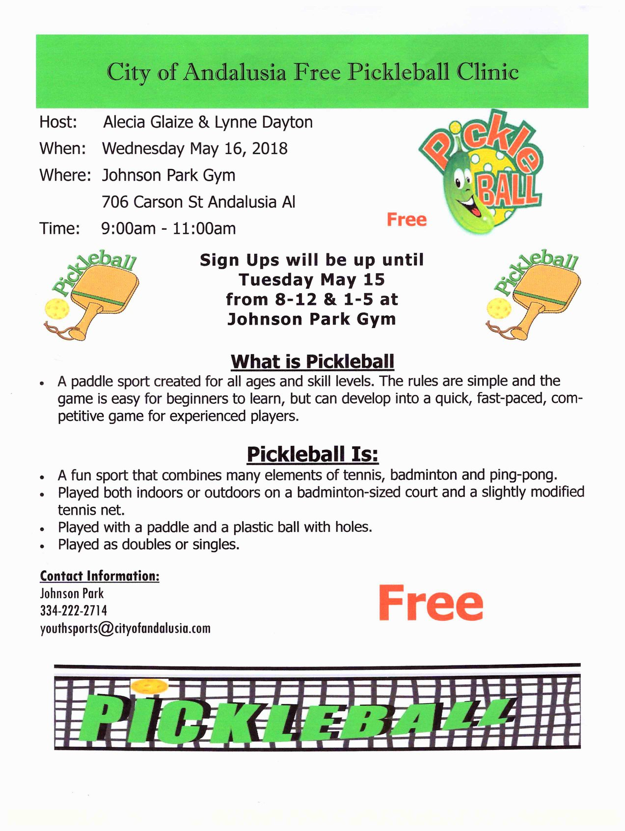 20180515 City of Andalusia Free Pickleball Clinic