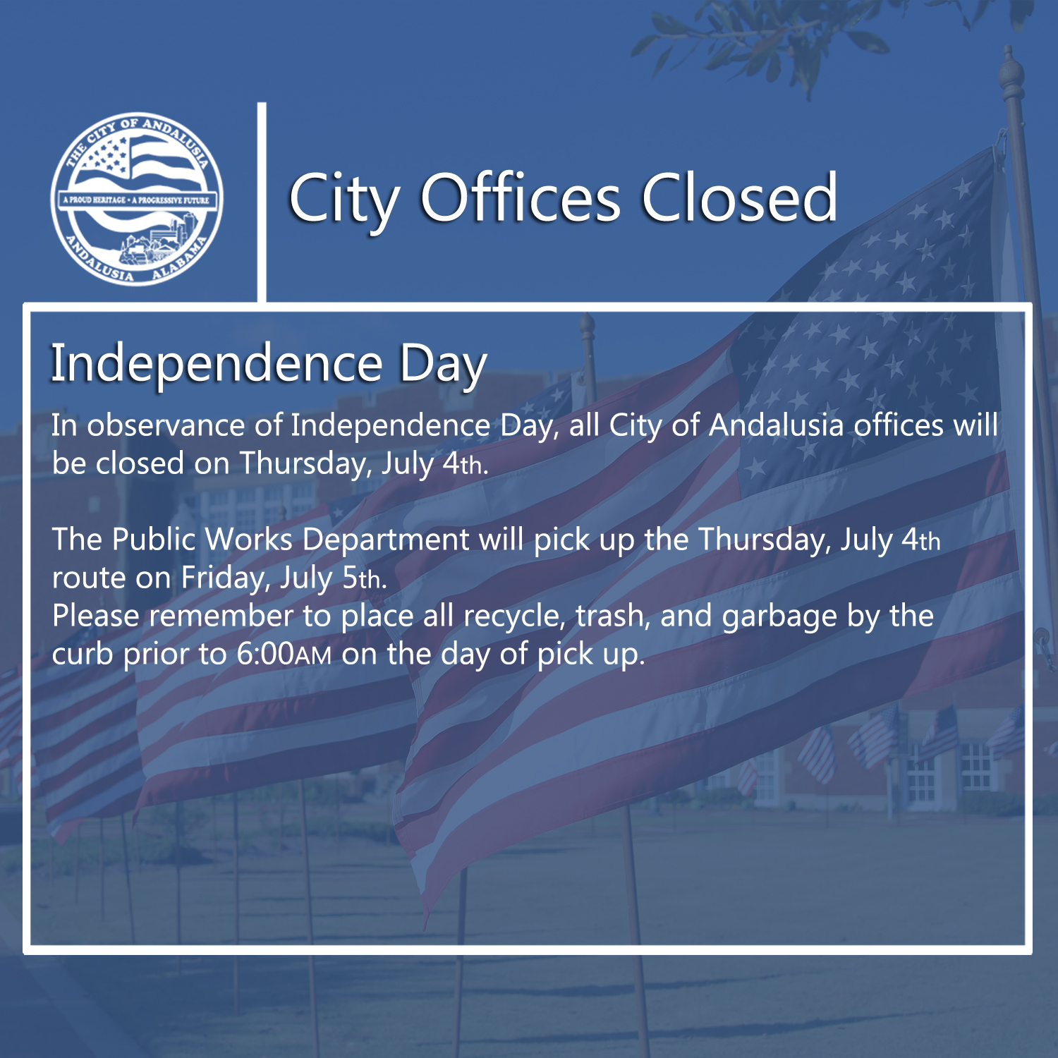 Facebook City Offices Closed Independence