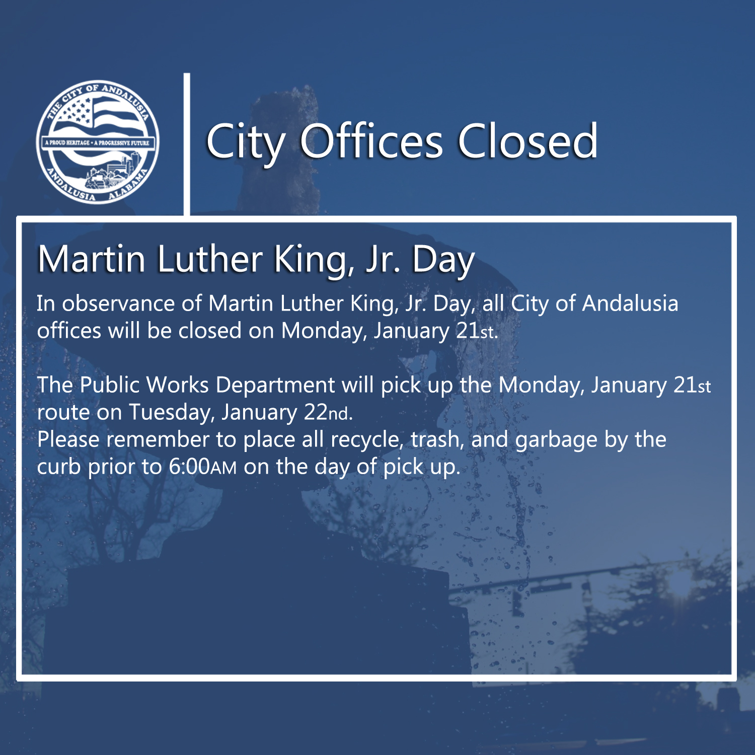 Facebook City Offices Closed Martin Luther King